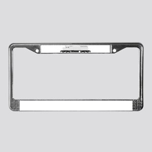 White train drawing License Plate Frame