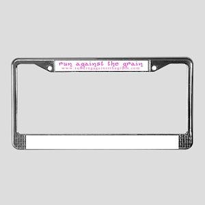 runagainstthegrain_ltpink License Plate Frame