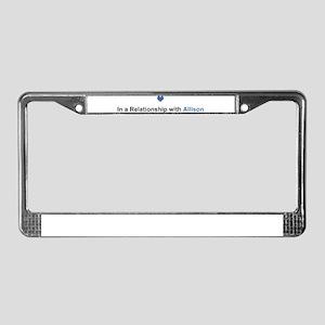 Allison Relationship License Plate Frame