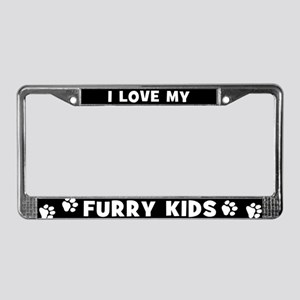 I Love My Furry Kids License Plate Frame