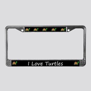 Black I Love Turtles License Plate Frames