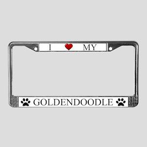 White I Love My Goldendoodle License Plate Frame