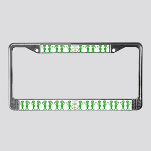 Green Alien Quartet License Plate Frame