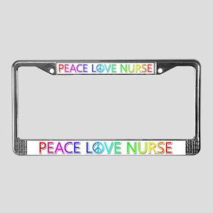 Peace Love Nurse License Plate Frame