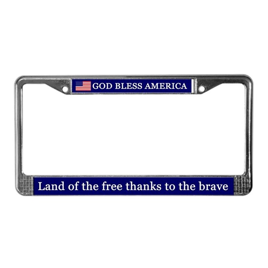 God Bless America 2 License Plate Frame