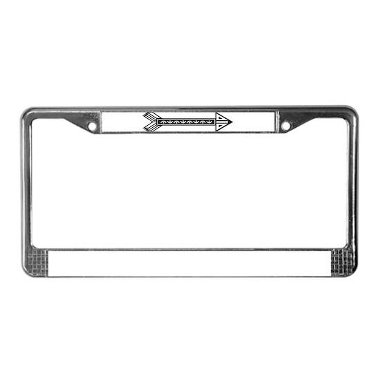 Black White Decorative Arrow License Plate Frame