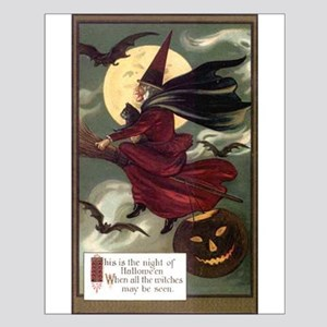 Vintage Halloween Flying Witc Small Poster