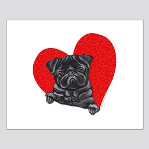 Black Pug Heart Small Poster