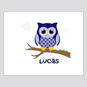Custom name winter owl blue Small Poster