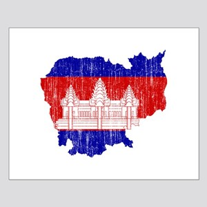 Cambodia Flag And Map Small Poster