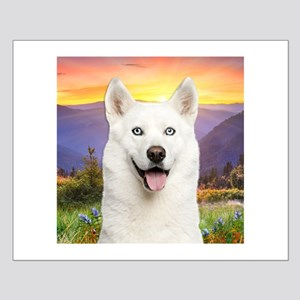 White Husky Meadow Small Poster