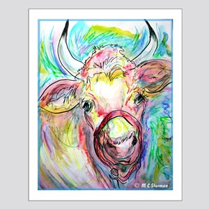 Cow, colorful, art, Small Poster