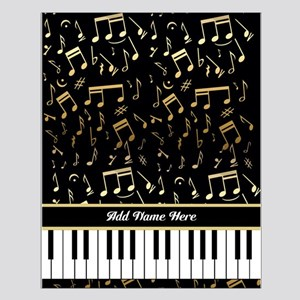 Personalized Piano keys and gold musical notes Sma