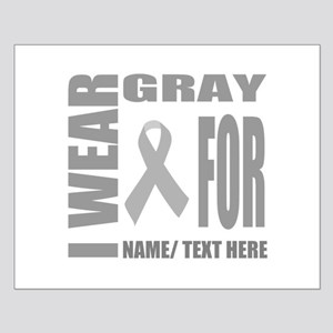Gray Awareness Ribbon Customized Small Poster