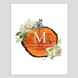 Floral Wood Wedding Monogram Posters