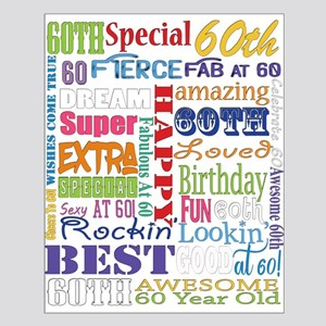 60th Birthday Typography Small Poster