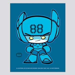 Blue Robot 88 on Blue Small Poster