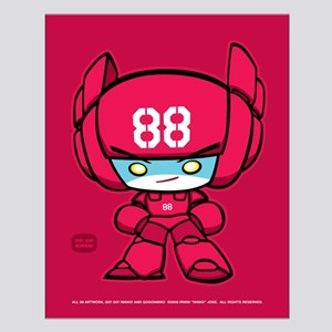 Red Robot 88 on Red Small Poster