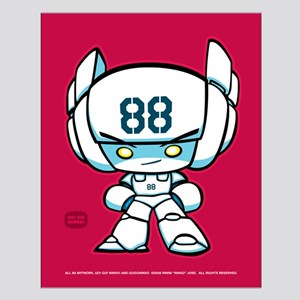 White Robot 88 on Red Small Poster