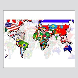 World Flags Map Small Poster