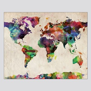 World Map Urban Watercolor 14x10 Small Poster