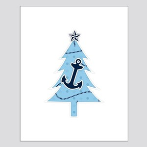 Navy Christmas Tree Small Poster