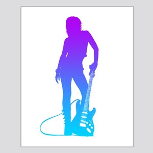 Girl & Guitar Small Poster
