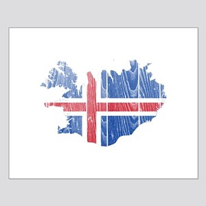 Iceland Flag And Map Small Poster