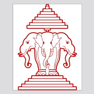 f1d3594db2ee0 Laos Three Headed Elephant Wall Art - CafePress