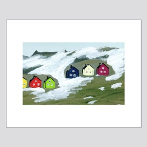 Colorful Winter Houses Small Poster