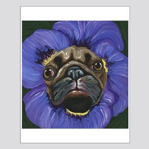 Pug Pansy Dog Art Small Poster