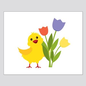 Chick with Tulips Posters