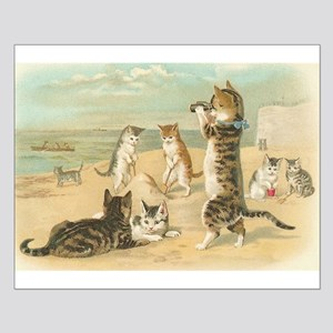 Cats at the Beach, Vintage Art Poster Small Poster
