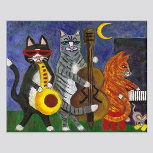 Jazz Cats at Night Small Poster