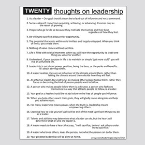20 Thoughts on Leadership Poster