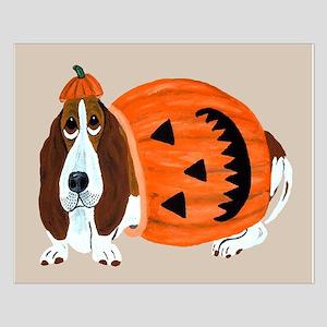 Basset Hound In Pumpkin Suit Small Poster