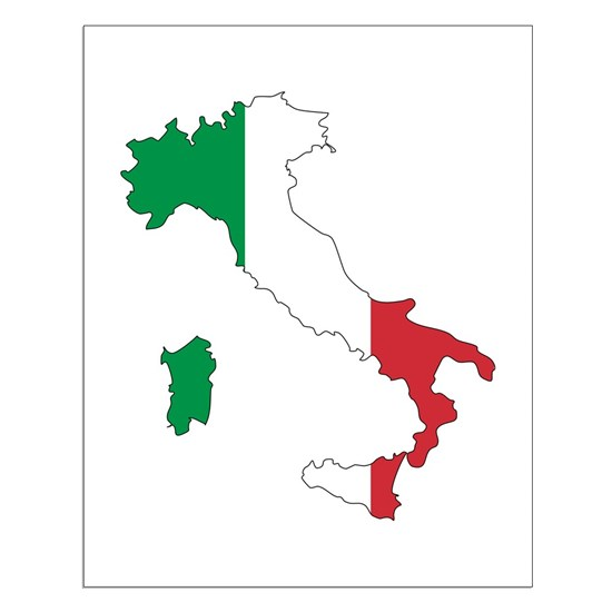 Map Of Italy To Color.Italy Flag And Map Small Poster