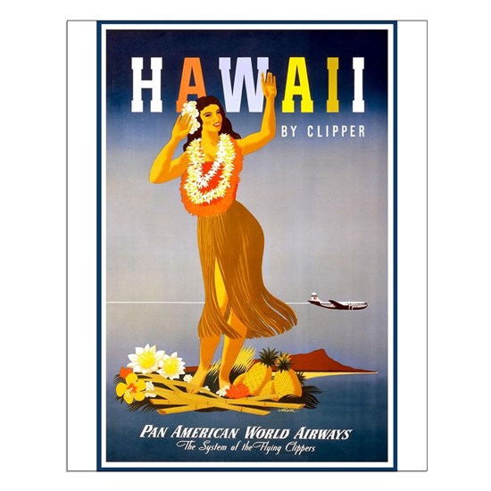 Hawaii, Hula, Travel, Vintage Poster