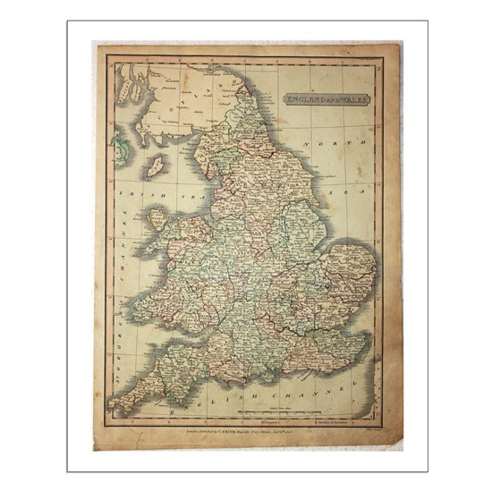 Map Of England 2100.1808 Map Of England And Wales Poster Design