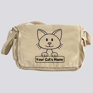 Personalized White Cat Messenger Bag