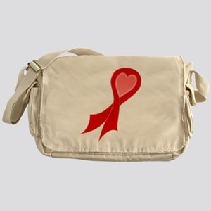 Red AIDS RIbbon with Heart Canvas Messenger Bag