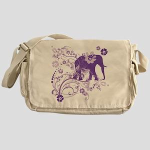 Elephant Swirls Purple Messenger Bag
