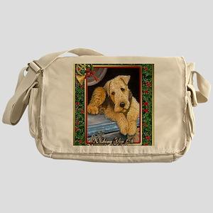 Airedale Terrier Dog Christmas Messenger Bag