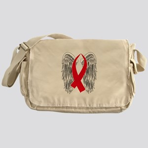 Winged Awareness Ribbon (Red) Messenger Bag