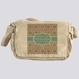 Pink Apple Green Pattern Personaliz Messenger Bag