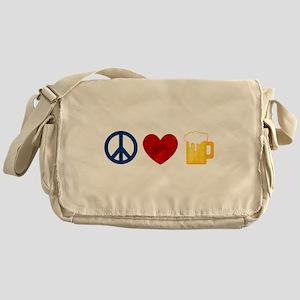 Peace Love Beer Messenger Bag