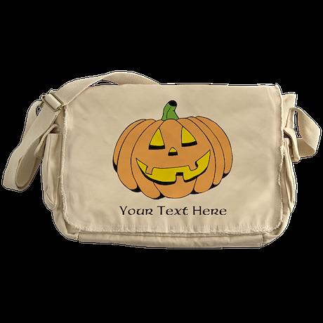 Halloween Pumpkin Custom Text Messenger Bag