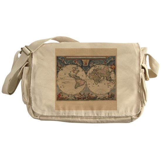 Vintage World Map 17th Century Messenger Bag on map shoes, map luggage, map boots, map crossbody, map skirt, map phone case, map jacket, map scarf, map white, map trunk, map suitcase, map wallet, map sweater,