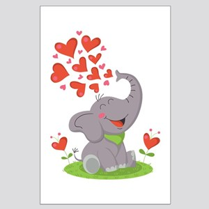 Elephant with Hearts Posters