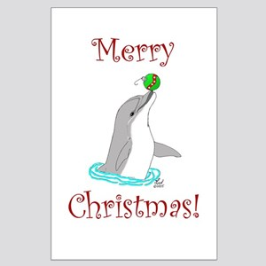 Christmas Dolphin Large Poster